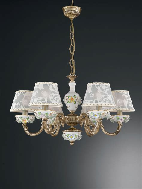 6 lights brass and painted porcelain chandelier with l