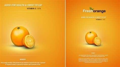 photoshop tutorial clean  minimal poster fresh orange