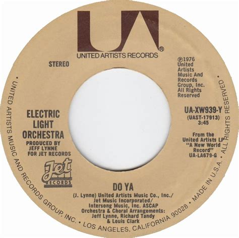 Electric Light Orchestra Do Ya by 45cat Electric Light Orchestra Do Ya Nightrider