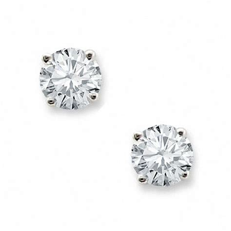 ct tw diamond solitaire stud earrings   white