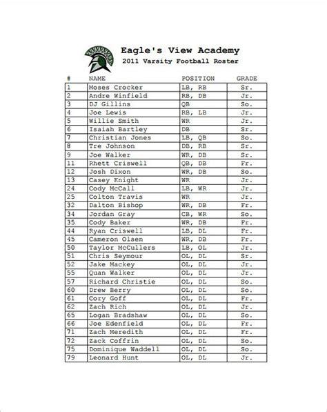 sample football roster template  format football