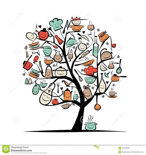 dessin ustensile de cuisine arbre d 39 avec des ustensiles de cuisine dessin de