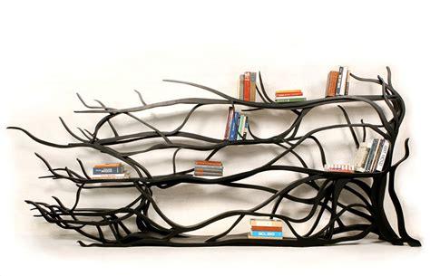 tree bookshelves artist finds fallen tree branch on road turns it into shelf bored panda