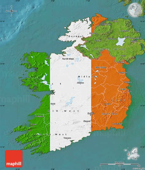 flag map  ireland satellite