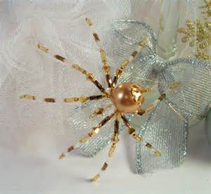 bronze and gold beaded christmas spider ornament by thespiderlady