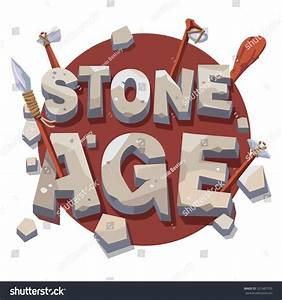 stone age writing prehistoric wooden tools stock vector With stone lettering tools