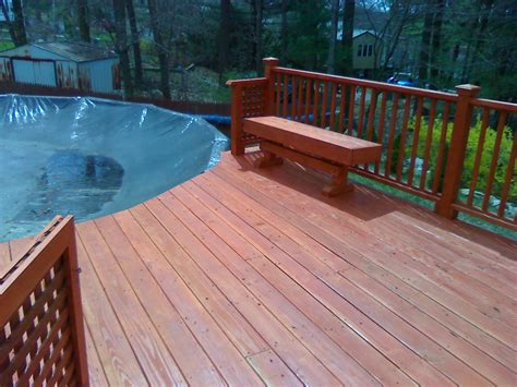 Wood Deck with Above Ground Pool