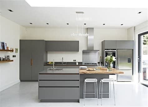 Zebrano Kitchen Island by Roundhouse Urbo Grey Matt Lacquer Bespoke Kitchen With