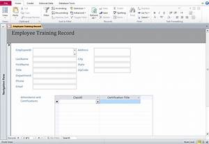 Access training database templates employee training database for Training database template access