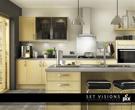 rating kitchen cabinets modern maple cgi kitchen room set by set visions 3d artist 1724
