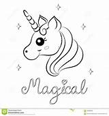 Unicorn Coloring Vector Pages Cartoon Word Magical Printable Illustration Books sketch template