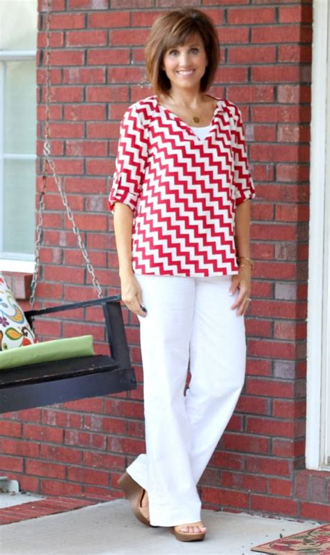summer fashion red white chevron cyndi spivey style