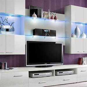 Meuble Tv Mural Blanc : meuble tv mural design space 300cm blanc ~ Dailycaller-alerts.com Idées de Décoration