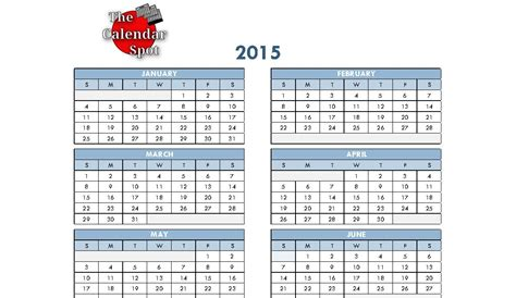 Printable 4 Month Calendar 2015 Printable Pages 6 Best Images Of 2015 Calendar Printable 6 Month One Page