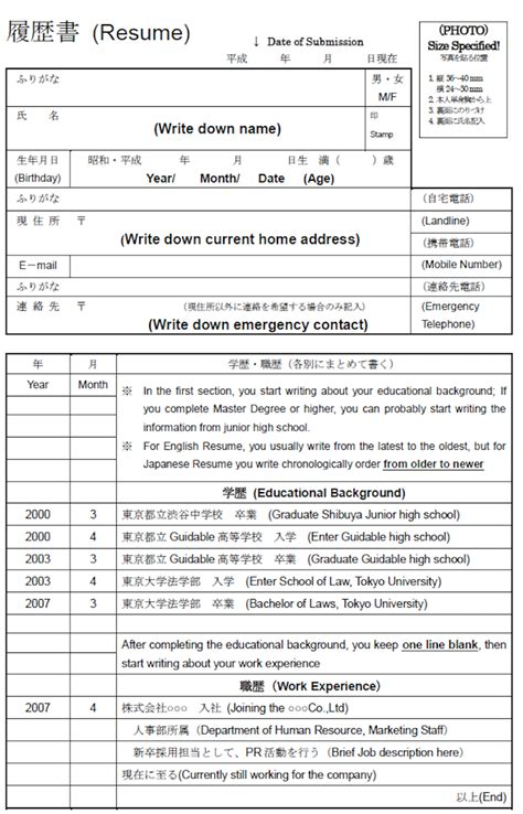 Japanese Resume Form by How To Write Your Resume For A Japanese Company Guidable