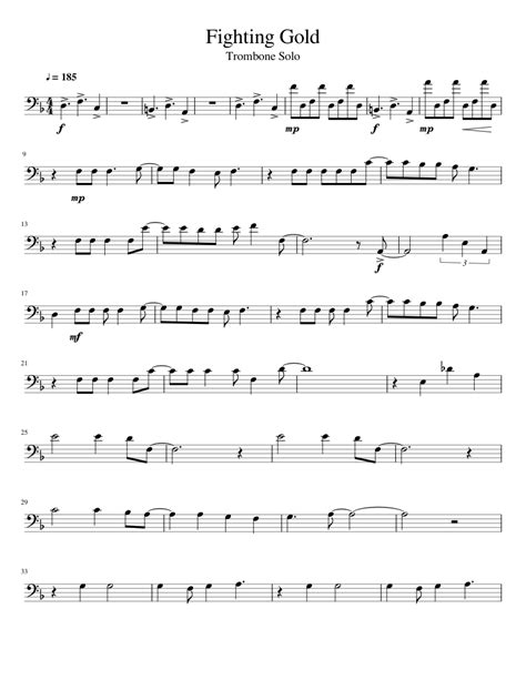 Www.capotastomusic.com easy trombone sheet music notes to the christmas carol o holy night. Fighting Gold - Trombone Solo sheet music for Trombone download free in PDF or MIDI