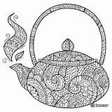 Coloring Tea Zentangle Teapot Coffee Adult Adults Doodle Zen Patterns Cups Cup Stack Mandala Zentangles Guardado Desde sketch template
