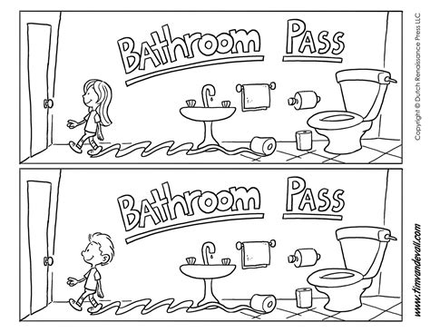 Printable Bathroom Passes  Tim's Printables