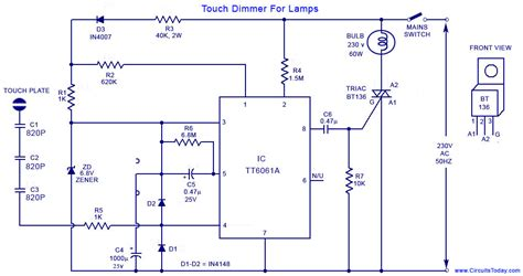 Touch Lamp Control Dimmer Circuit For Lamps Using