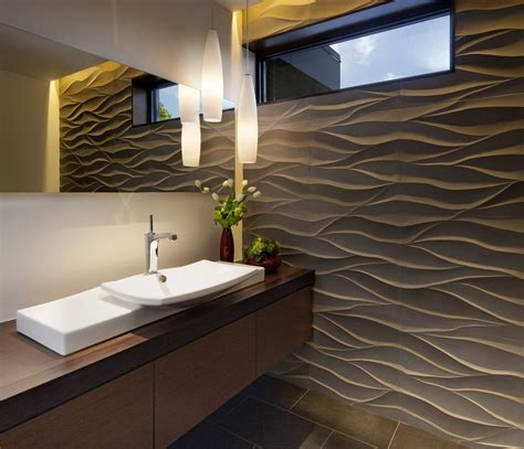 Kitchen Faucet Ideas - splashy single bathroom faucet in bathroom contemporary with wave wall to vanity