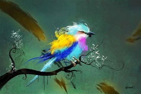 cuisine et salon dans la meme tableau design oiseau izoa