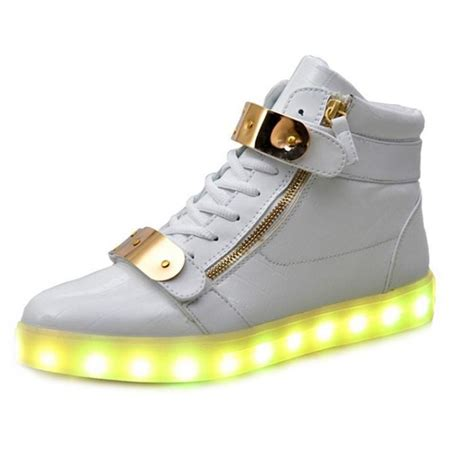 light up boots white led light up shoes with metal plate and zips for