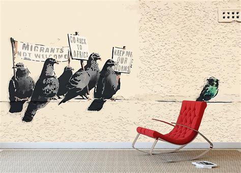 banksy anti immigration birds wall mural wallpaper