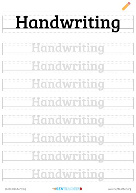 sen teacher quick handwriting printable worksheet
