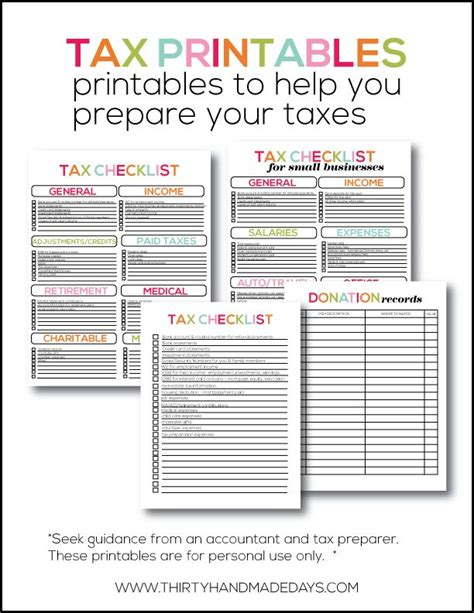 printable tax forms  organized small business tax