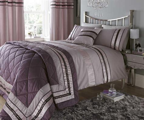 mauve diamante quilt duvet cover pillowcase sets or
