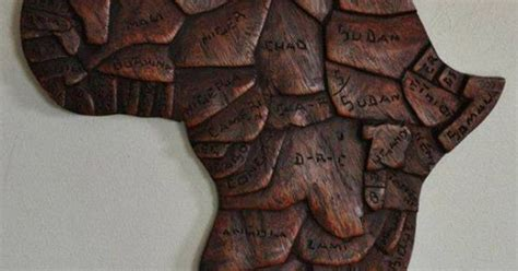 hand carved wooden map  africa plaque products