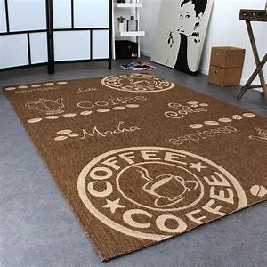 Carpet modern flat weave sisal look kitchen carpet coffee for Küchenteppich