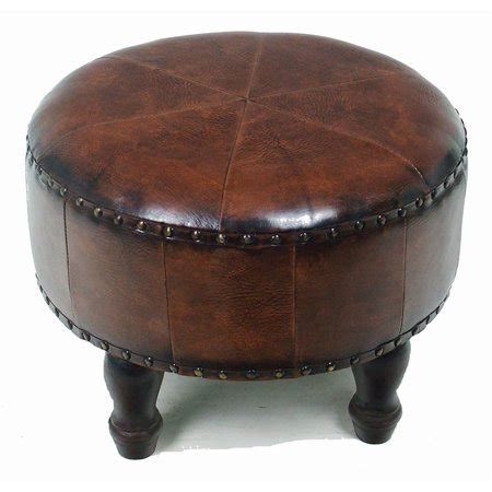faux leather ottoman faux leather 20 in brown ottoman walmart