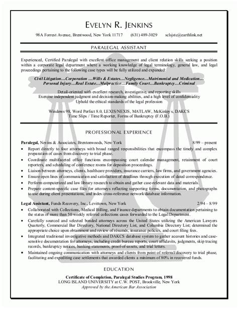 List Of Best Resumes by Paralegal Resume Exle Sle Resume