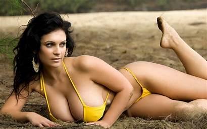 Denise Milani Bikini Yellow Boobs Outdoors Hair