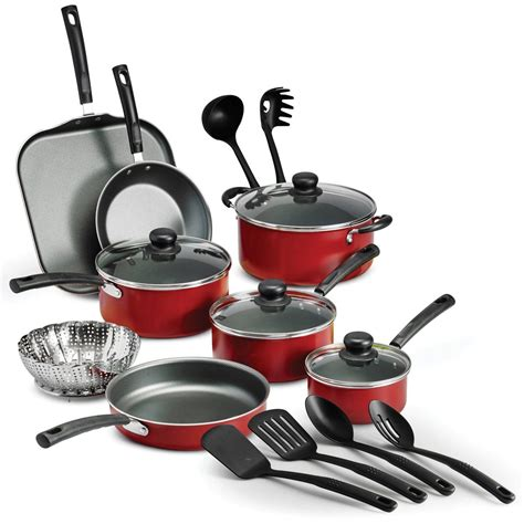 best pots and pans set kitchen cookware set 18 piece non stick cooking pots pans red ebay