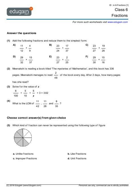 grade  math worksheets  problems fractions edugain