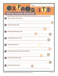 expand  writing complex sentences worksheet