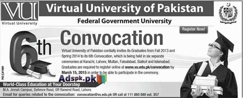 6th convocation in vu of pakistan federal govt for graduates