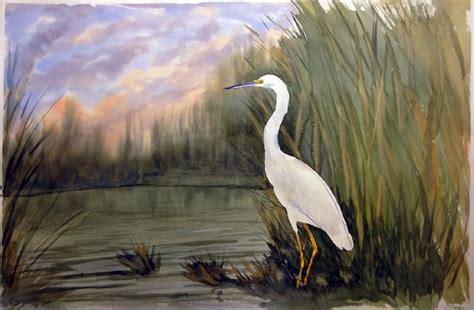 2 Egret Paintings