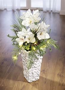 Amaryllis In Der Vase : beleuchtetes amaryllis gesteck in vase gestecke kr nze ~ Lizthompson.info Haus und Dekorationen