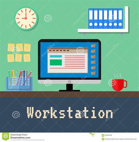 bureau poste de travail le bureau de poste de travail illustration de vecteur