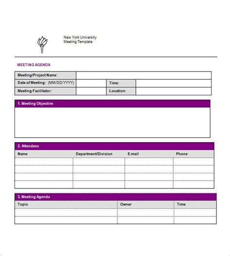 simple agenda templates  sample  format