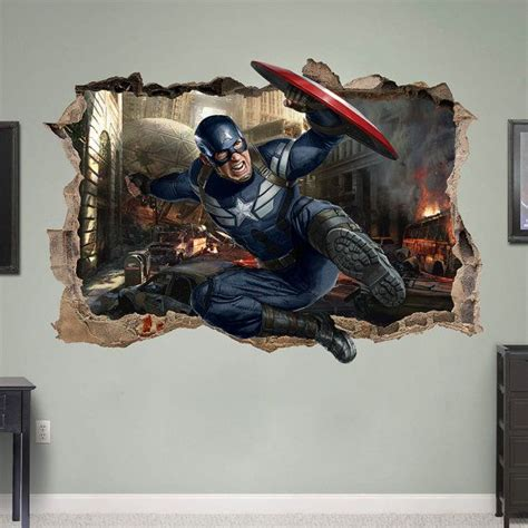 captain america  wall sticker smashed bedroom kids decor