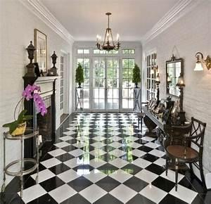 le carrelage damier noir et blanc en 78 photos archzinefr With porte d entrée alu avec carrelage mural salle de bain noir brillant