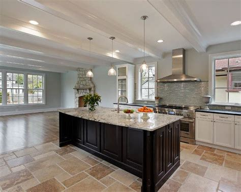 white kitchen travertine floor magnificent traditional house with eclectic interior 1415