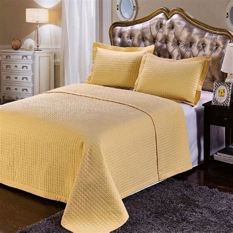 Gold Coverlet by 3pc Gold Quilted Checkered Wrinkle Free Reversible