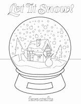 Coloring Snow Globe Let Pages Christmas Printable Favecrafts Snowman sketch template