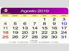 Calendário de Agosto de 2019 webcid