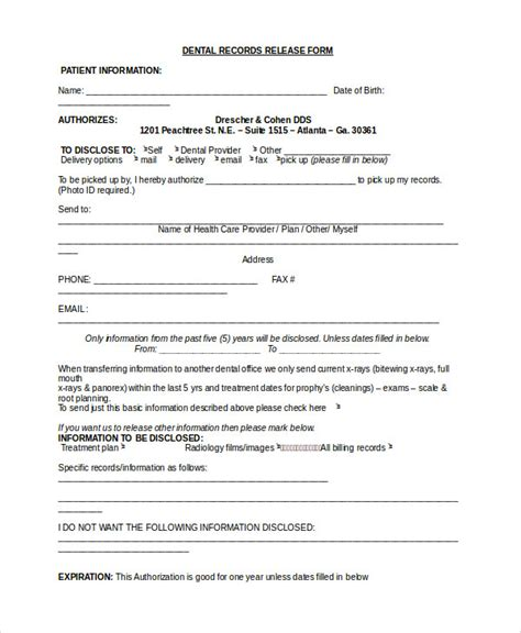 Bcbsnc Continuity Of Care Form by 11 Sle Dental Release Forms Sle Templates
